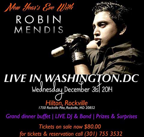 Robin Mendis Performing Live This New Year's Eve at Washington DC