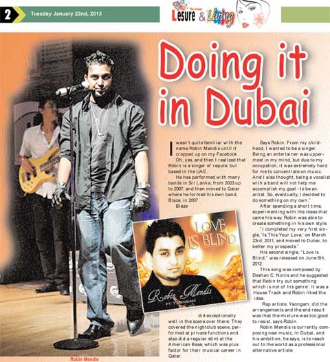 Doing it in Dubai - Newspaper Article - The Island